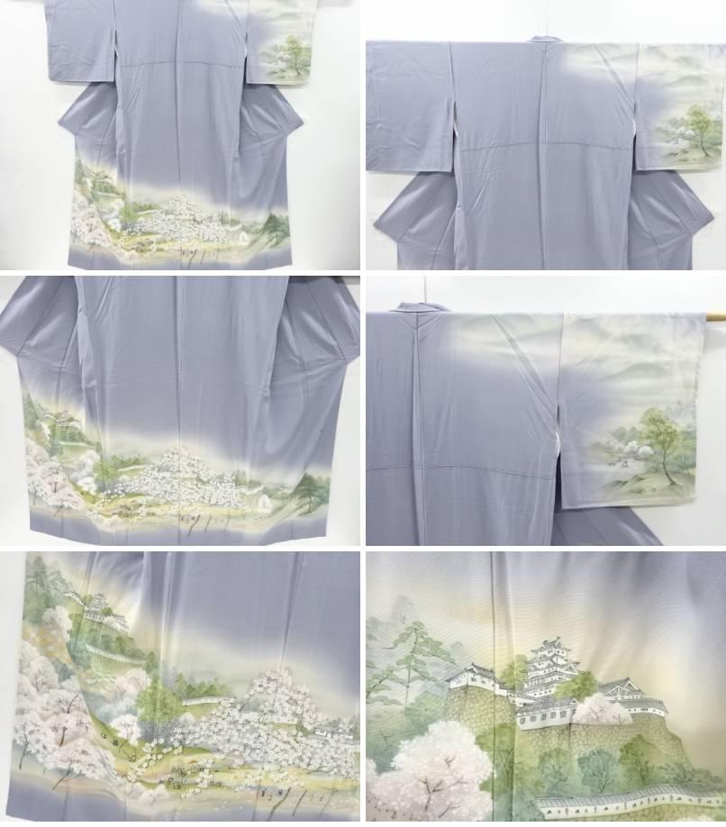 作家物 金彩手描き城に桜・時代人物模様訪問着 リサイクルthsQrd