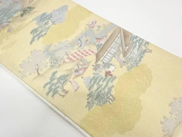 寿光織時代人物風景模様織出し袋帯【リサイクル】【中古】