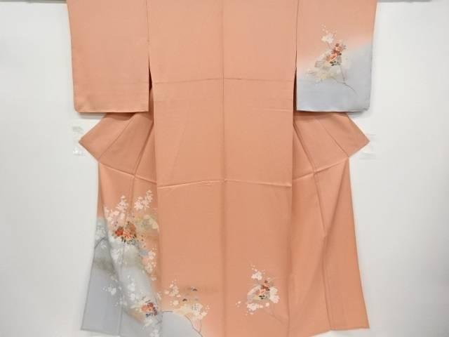 未使用品 仕立て上がり 金彩手描き友禅地紙に牡丹・梅・枝桜模様単衣訪問着