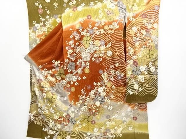金彩波に八重梅模様刺繍振袖・袋帯セット(重ね衿付き)【リサイクル】【中古】