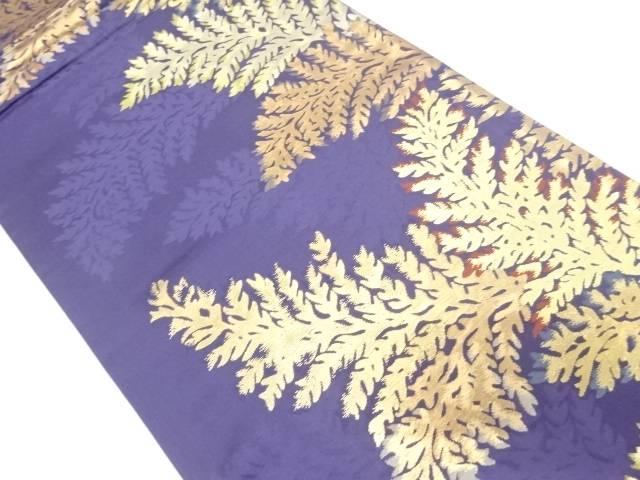 草葉模様織出し袋帯【リサイクル】【中古】