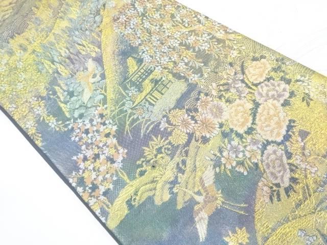 家屋風景に鶴模様織出し袋帯【リサイクル】【中古】