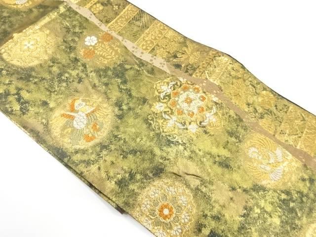 引箔花鳥模様織出し袋帯【リサイクル】【中古】