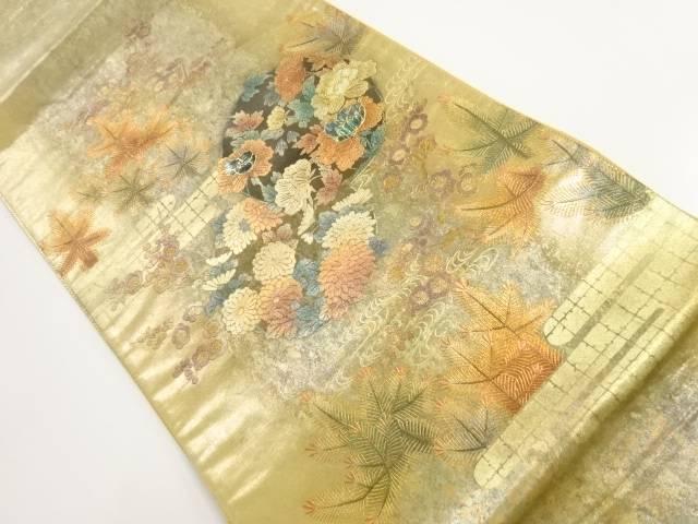 箔置螺鈿丸紋に牡丹菊模様袋帯【リサイクル】【中古】