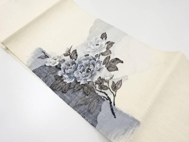 未使用品 手織り真綿紬枝花模様織出し名古屋帯【リサイクル】【中古】