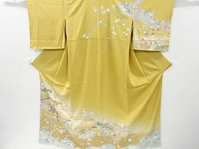未使用品 仕立て上がり 金彩几帳に桜扇菊模様刺繍着物