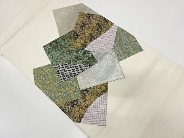 切嵌草花模様織出し袋帯【リサイクル】【中古】