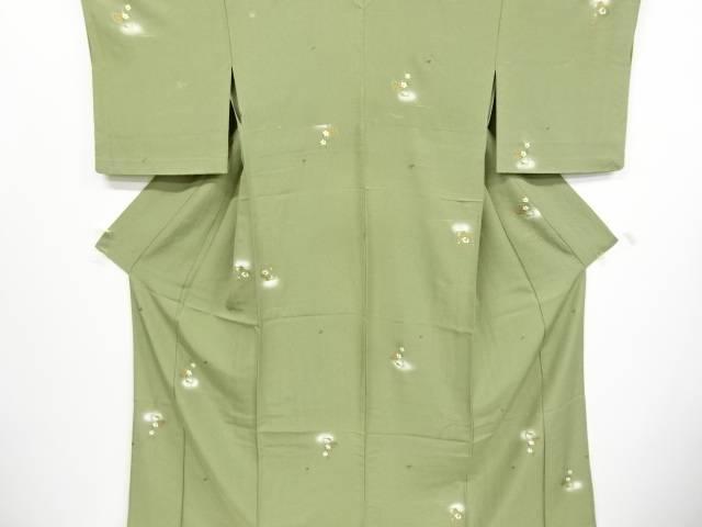 金彩流水に地紙・草花模様単衣小紋着物【リサイクル】【中古】