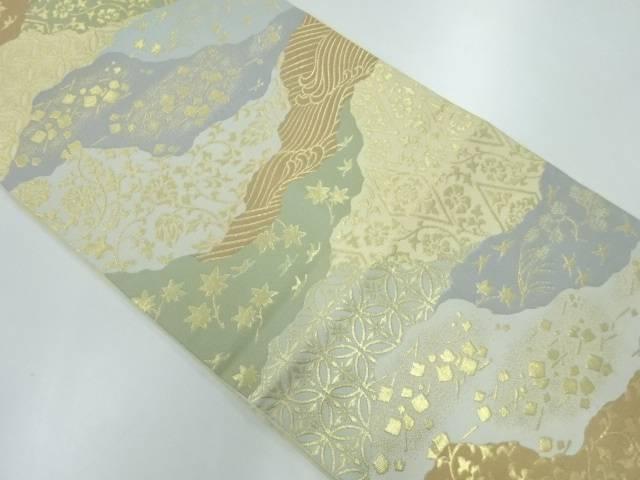 川島織物製 道長取りに花鳥・古典柄模様織出し本袋帯【リサイクル】【中古】