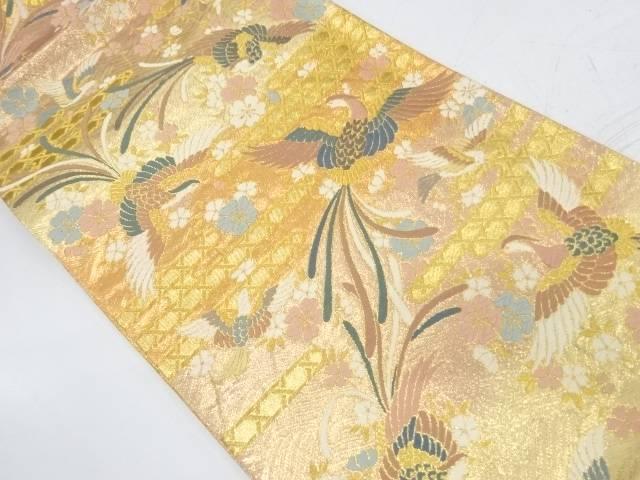 鳳凰に桜模様織出し袋帯【リサイクル】【中古】