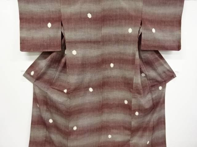 亀甲に絣柄模様織り出し手織り紬単衣着物【リサイクル】【中古】
