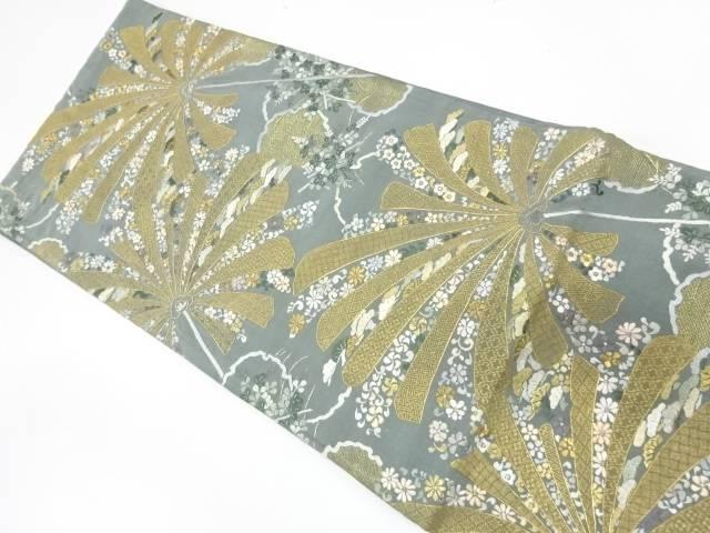 草花模様刺繍袋帯【リサイクル】【中古】