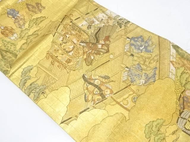 時代人物に風景模様織出し袋帯【リサイクル】【中古】
