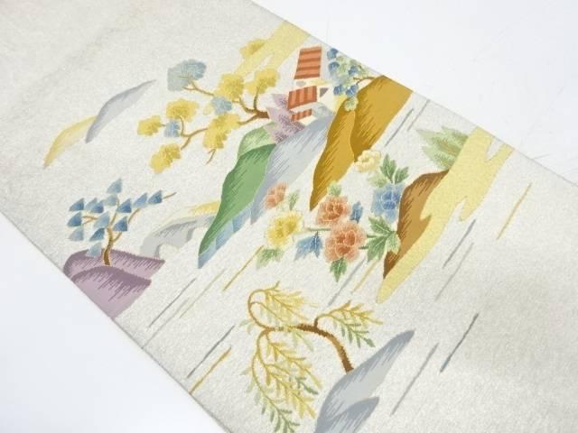 綴れ草花に家屋風景模様織出し袋帯【リサイクル】【中古】