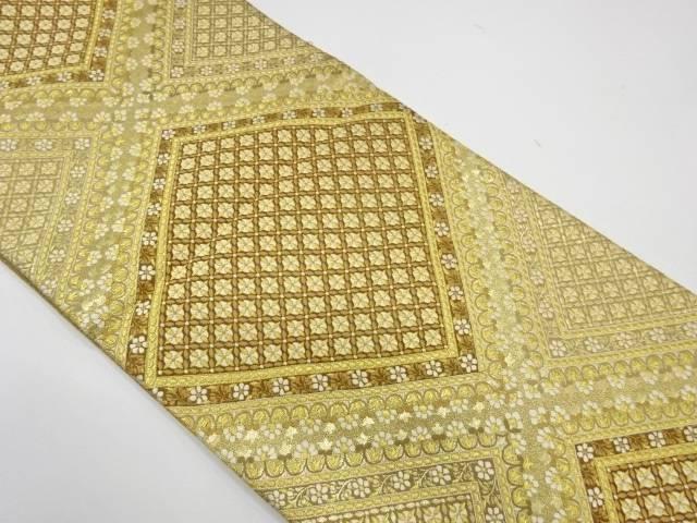 河合美術織物製 石取富黄文織出し袋帯【リサイクル】【中古】