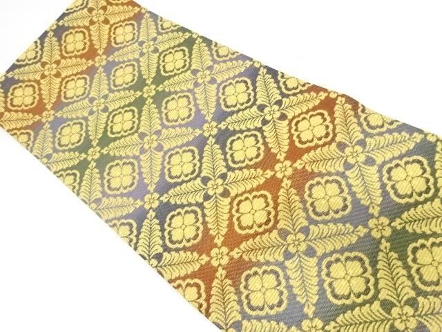 金華山織花菱模様織出し袋帯【リサイクル】【中古】