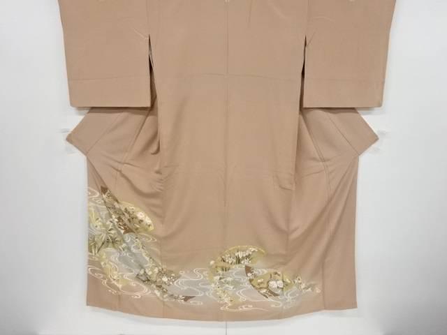 金彩地紙に菊松竹梅模様刺繍三つ紋色留袖(比翼付き)【リサイクル】【中古】