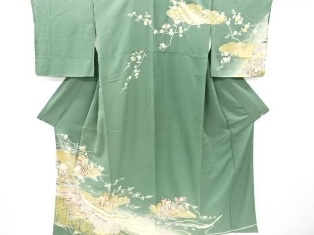 金彩雲に桜菊御所車模様刺繍訪問着【リサイクル】【中古】