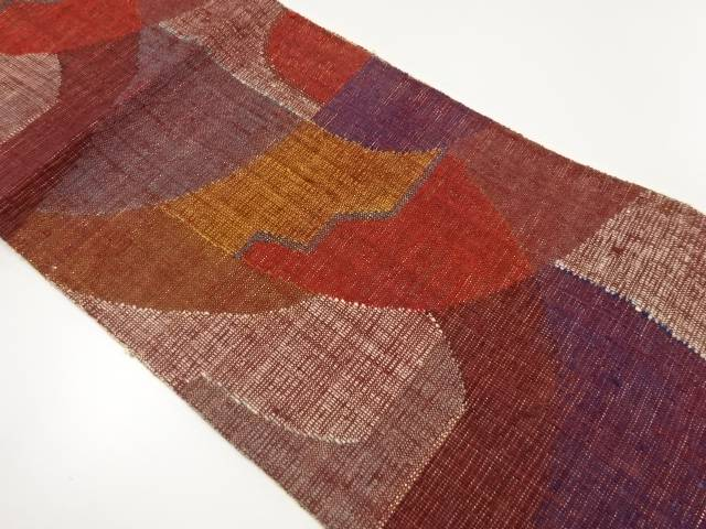 手織り真綿紬抽象模様織出し名古屋帯【リサイクル】【中古】