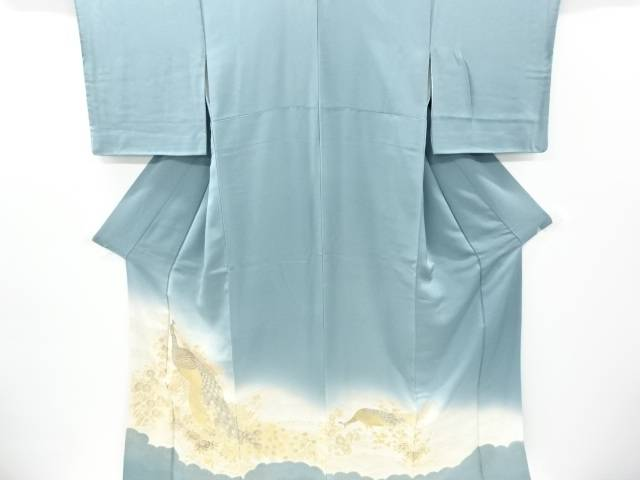 寿光織孔雀に牡丹菊梅模様一つ紋色留袖【リサイクル】【中古】