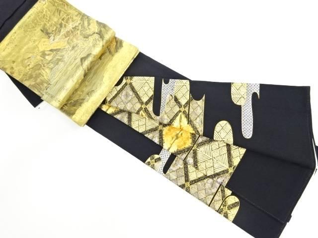 金彩霞取りに向かい鶴菱松葉模様刺繍留袖・袋帯セット(比翼付き)【リサイクル】【中古】
