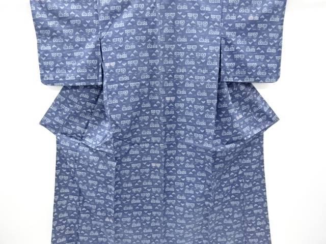本藍型染花模様手織り紬単衣着物【リサイクル】【中古】