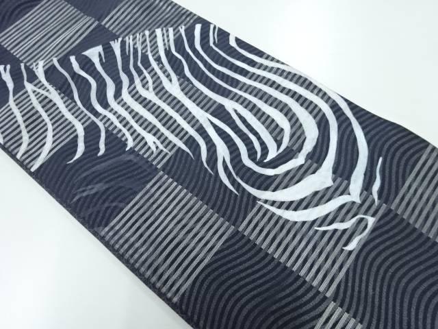 市松に抽象模様織出しリバーシブル袋帯【リサイクル】【中古】