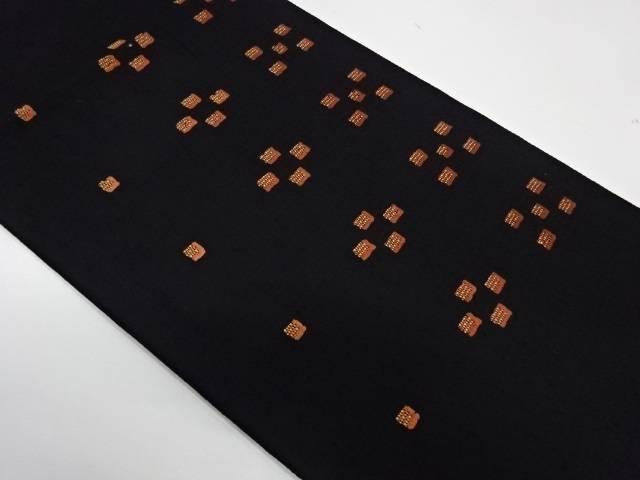 手織紬抽象模様織出し袋帯【リサイクル】【中古】
