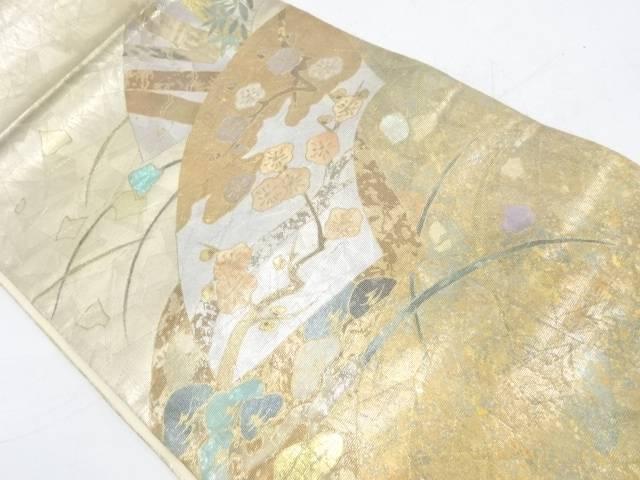 螺鈿地紙に松竹梅模様袋帯【リサイクル】【中古】