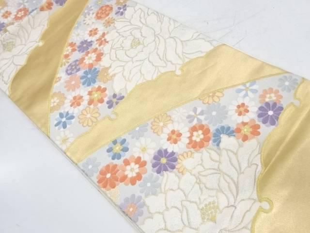 雪芝に牡丹・花模様織出し袋帯【リサイクル】【中古】
