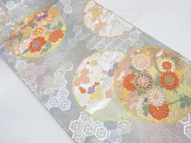 雪輪に蔦の葉・草花模様織出し袋帯【リサイクル】【中古】