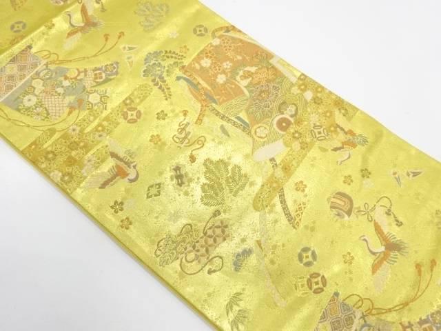 誰ヶ袖に花鳥模様織出し袋帯【リサイクル】【中古】