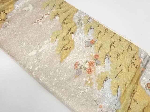 荒波に花鳥模様織出し袋帯【リサイクル】【中古】