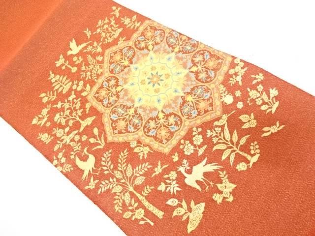 花鳥に華紋模様織出し袋帯【リサイクル】【中古】