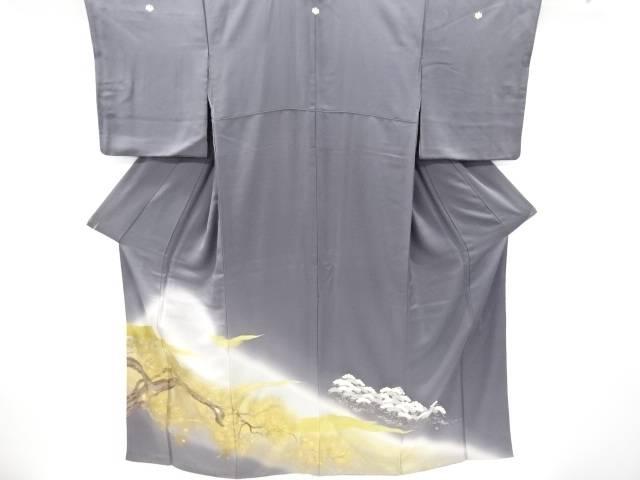 作家物 金彩霞に松模様三つ紋色留袖(比翼付き)【リサイクル】【中古】