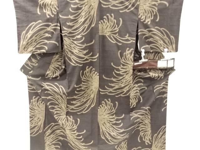 くるまや工房謹製 泥染乱菊模様織り出し手織り真綿小千谷紬着物【リサイクル】【中古】