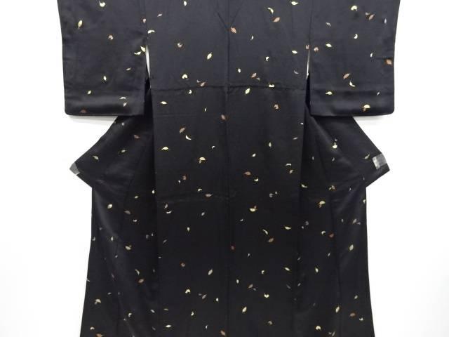 金彩木の葉模様小紋着物【リサイクル】【中古】