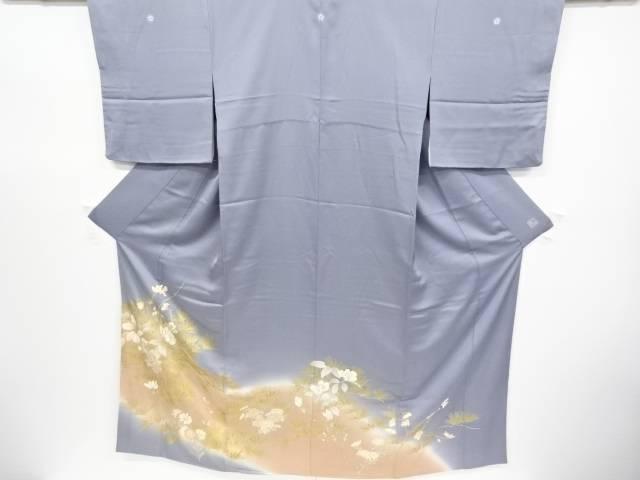 千總謹製 金彩松に枝花・菊模様刺繍三つ紋色留袖(比翼付き)【リサイクル】【中古】