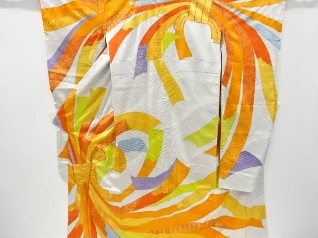 金彩束ね熨斗模様刺繍振袖【リサイクル】【中古】