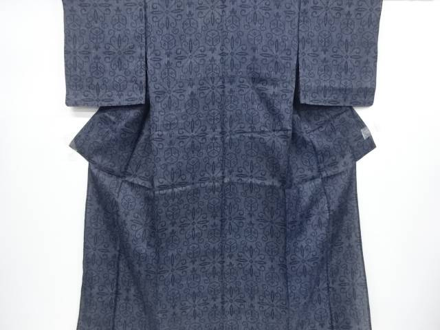 本場宮古上布幾何学模様織り出し着物【リサイクル】【中古】