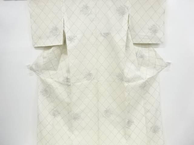 夏結城紬120亀甲斜め格子に百合模様織り出し着物【リサイクル】【中古】