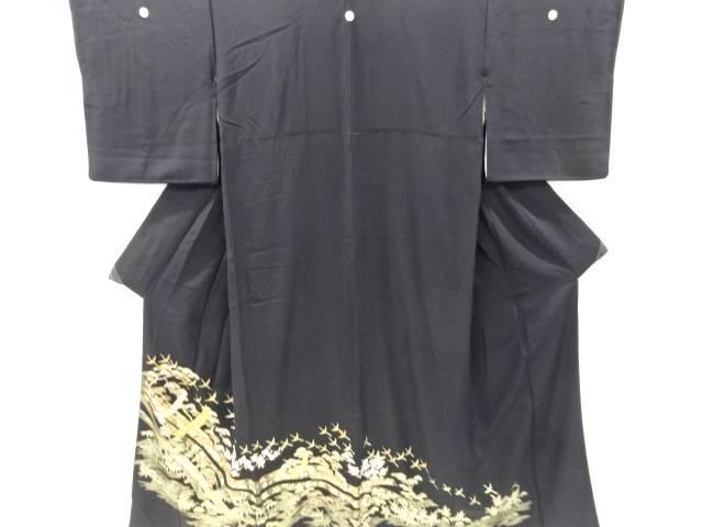 金彩熨斗に松竹梅・群鶴模様刺繍留袖(比翼付き)【リサイクル】【中古】