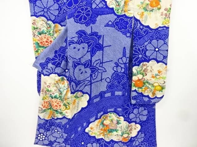 絞り束ね熨斗に牡丹・菊模様刺繍振袖【リサイクル】【中古】