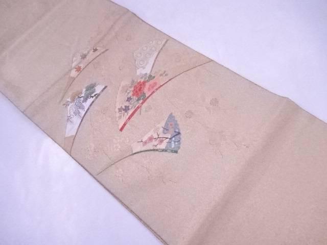 袋帯 西陣織 枝垂桜に扇子文【リサイクル】【中古】