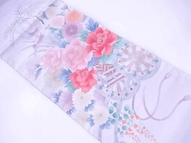 袋帯 西陣織 相良刺繍 花車文【リサイクル】【中古】