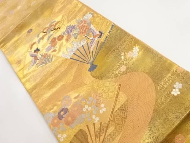 本金扇面に花鳥模様織出し袋帯【リサイクル】【中古】