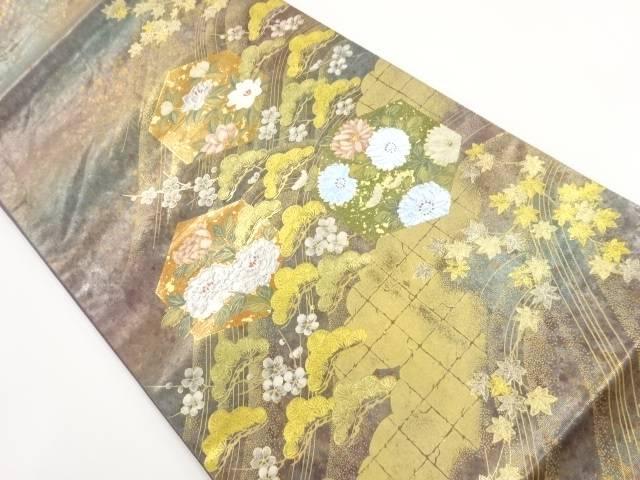 箔置亀甲に花模様袋帯【リサイクル】【中古】