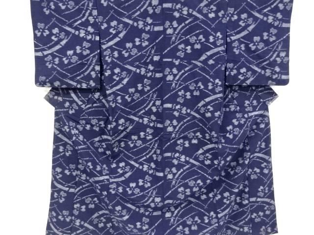 本場久留米絵絣竹に三つ葉模様単衣着物【リサイクル】【中古】