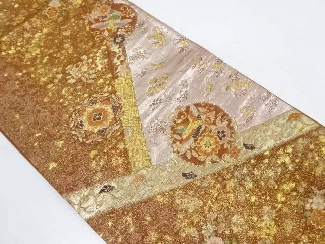 花鳥に箔散らし模様織出し袋帯【リサイクル】【中古】