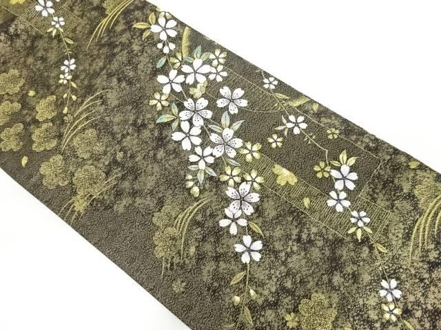 金糸短冊に桜模様織り出し袋帯【リサイクル】【中古】